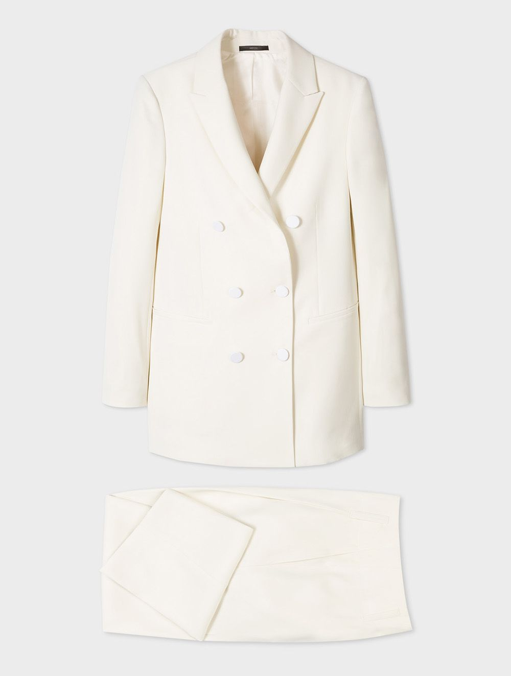 PAUL SMITH WOMEN'S IVORY DOUBLE-BREASTED TUXEDO SUIT, £670 (Dhs3,279)