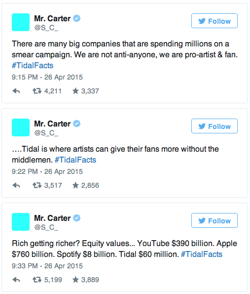 Jay Z takes to Twitter to defend his music-streaming business Tidal