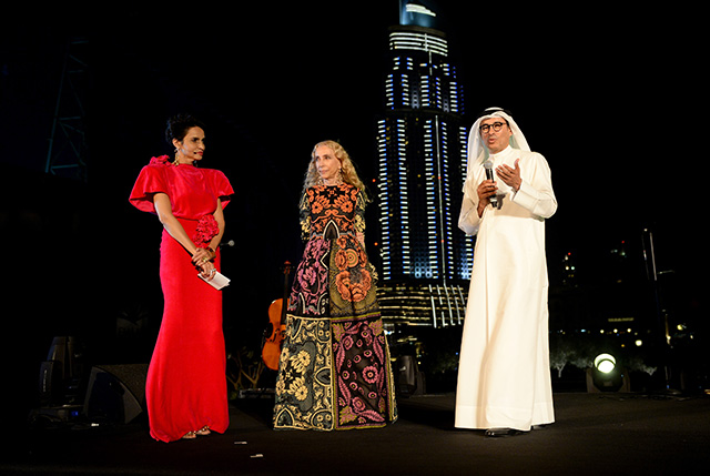 The VFDE gala dinner hosted by Franca Sozzani at the base of the Burj Khalifa