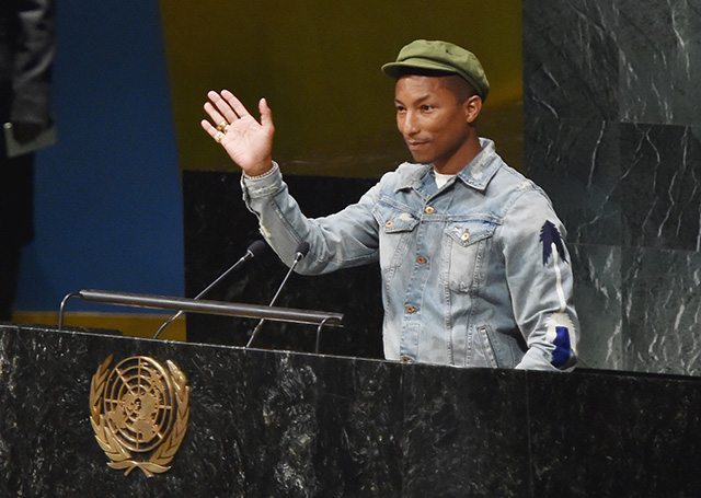 Pharrell Williams celebrates the International Day of Happiness with the UN