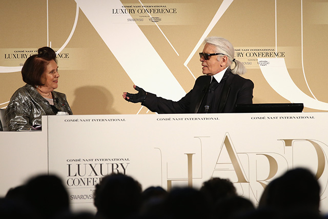Karl Lagerfeld and Apple talk tech at the Conde Nast