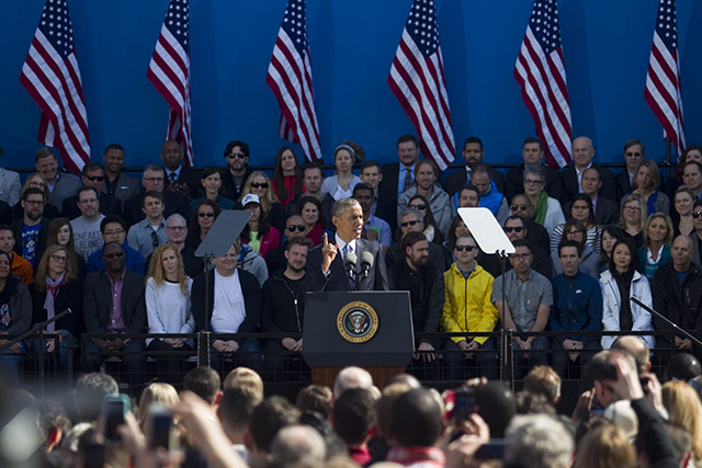 President Barack Obama speaks at Nike HQ