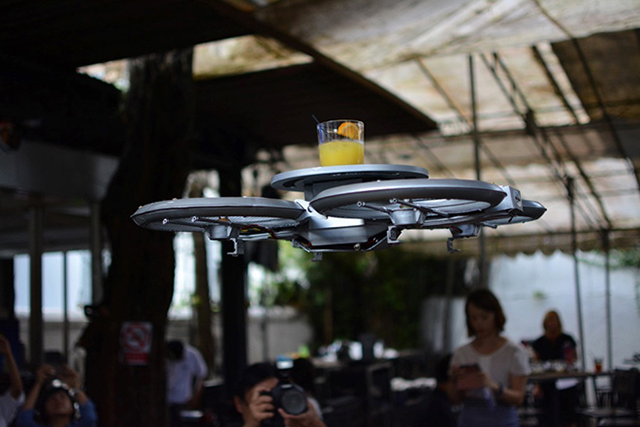 A restaurant in Singapore is using drones for waiters