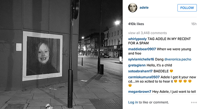 Adele's image as a toddler for her new single' cover art