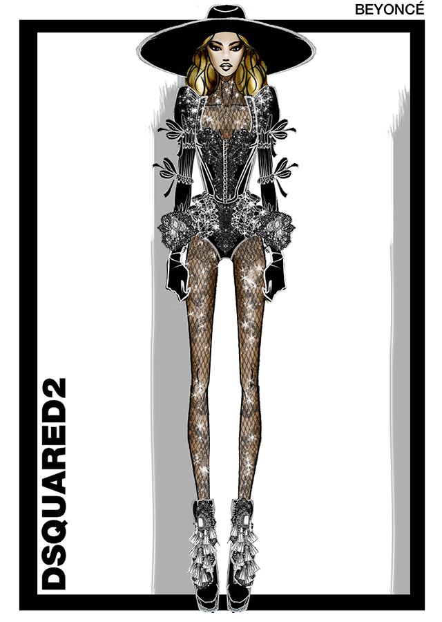 The Dsquared2 sketch of Beyonce's outfit