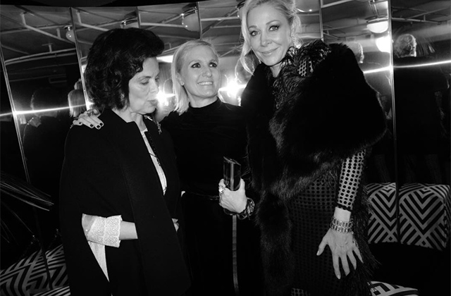 Maria Grazia Chiuri for Dior wins the Swarovski Award for Positive Change, presented to her by Bianca Jagger and Nadja Swarovski