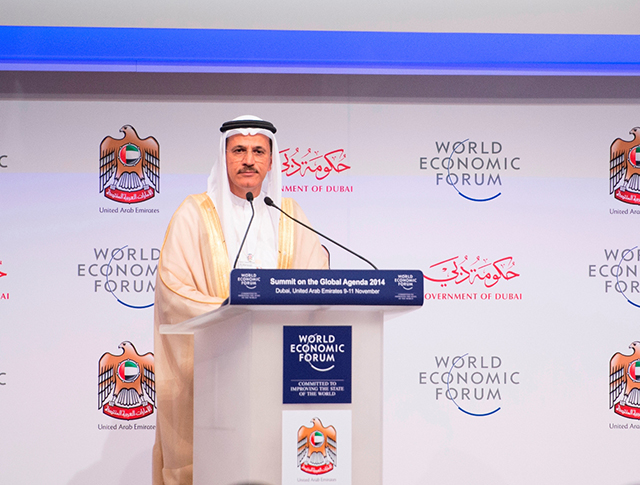 Sheikh Mohammed attends the 2014 Global Agenda Summit