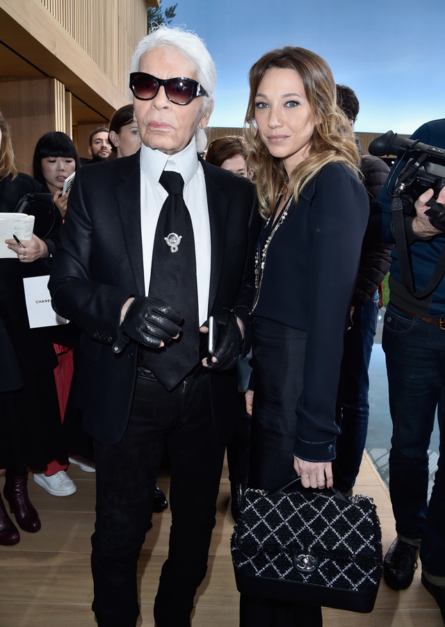 Karl Lagerfeld and Laura Smet at Chanel Couture SS16 Paris