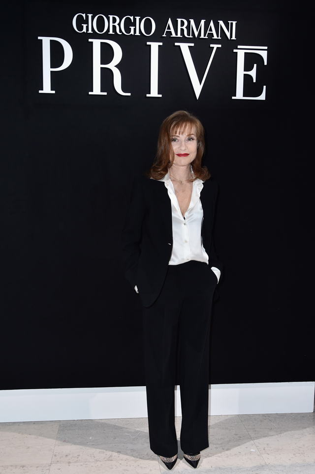 Isabelle Huppert at Armani Prive SS16 Couture Paris