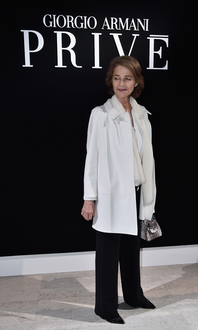 Charlotte Rampling at Armani Prive Couture SS16 Paris