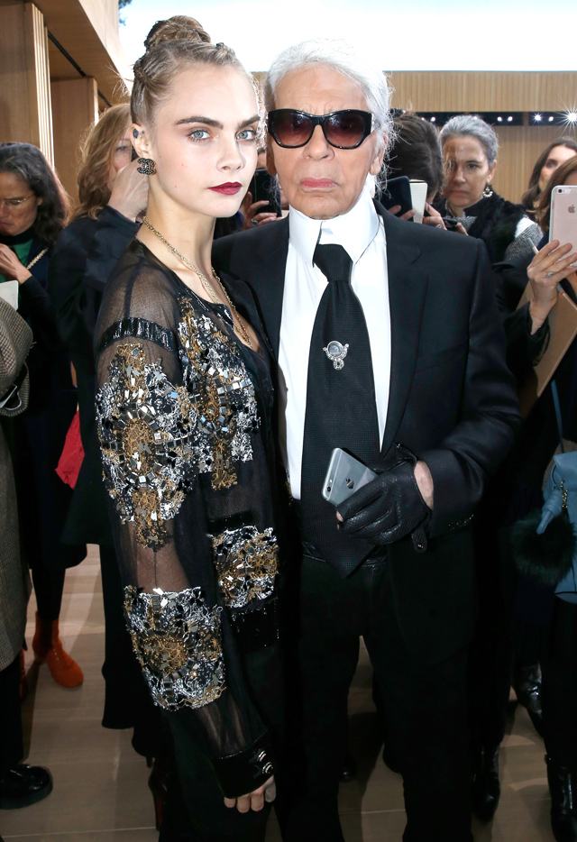 Cara Delevingne and Karl Lagerfeld Chanel Couture Paris SS16