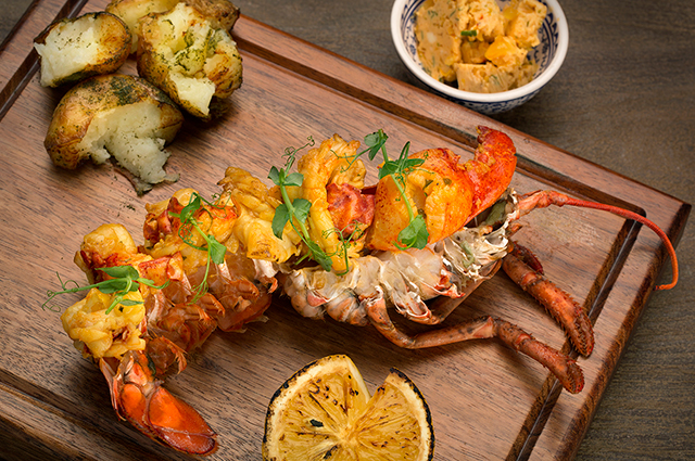 Grilled saffron lobster