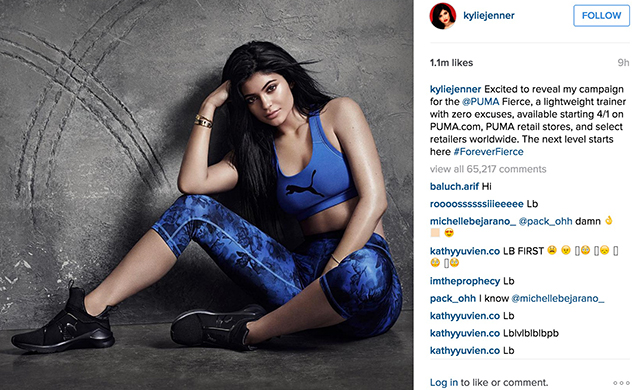 Kylie Jenner posts the new collection on Instagram