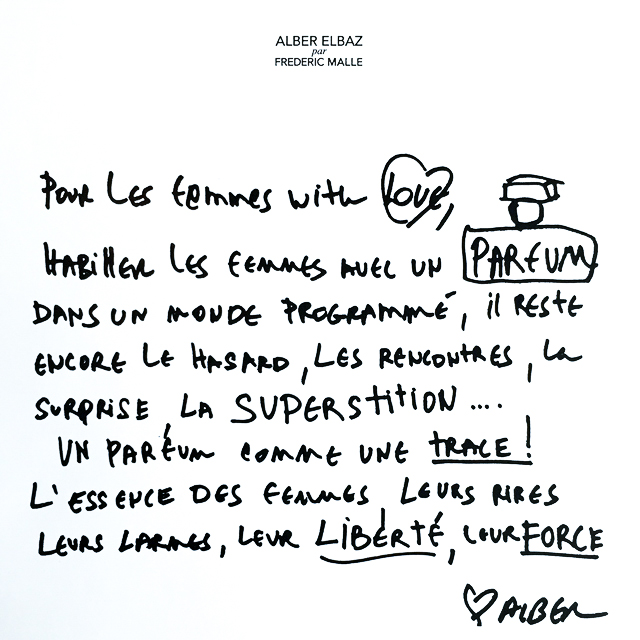 A letter from Alber Elbaz to Frédéric Malle