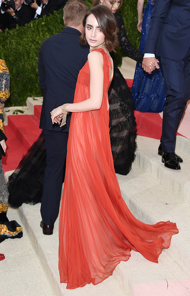 Lilly Collins in Valentino