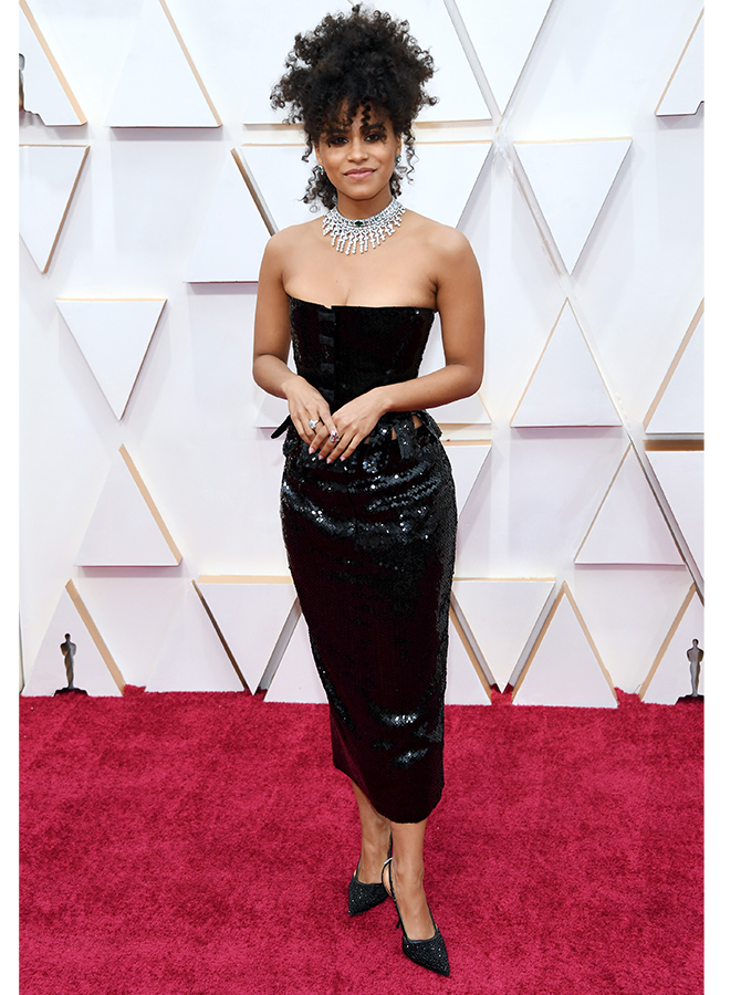 Zazie Beetz in custom Thom Browne