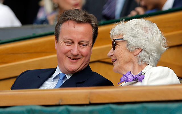 Britain's Prime Minister David Cameron with his mother Mary Cameron