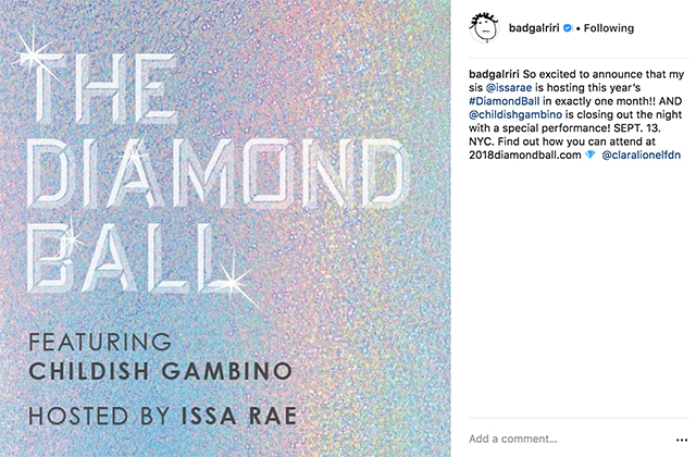 Rihanna teams up with Childish Gambino and Issa Rae for the 2018 Diamond Ball (фото 1)