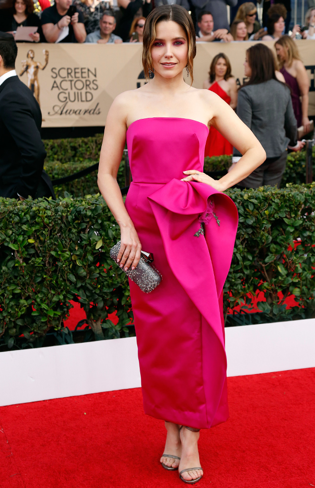 Sophia Bush dressed in Marchesa