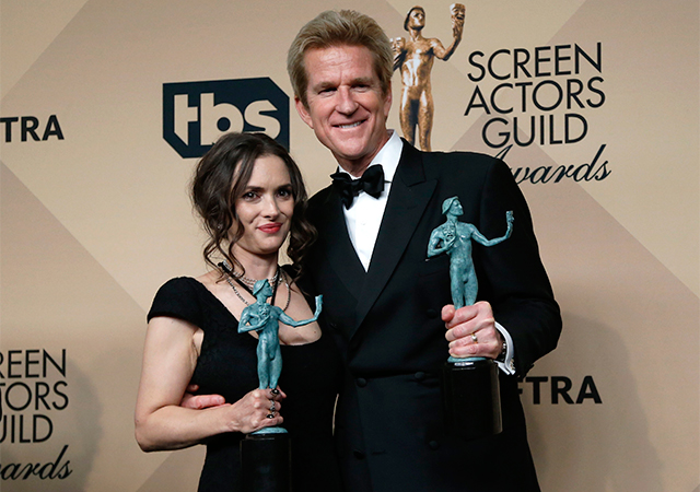 "Winona Ryder and Matthew Modine, Outstanding Performance by an ensemble in a Drama Series for their roles in ""Stranger Things"""