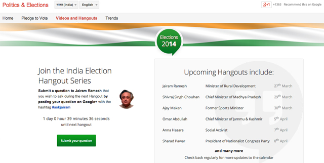 Google launches voting for Indian