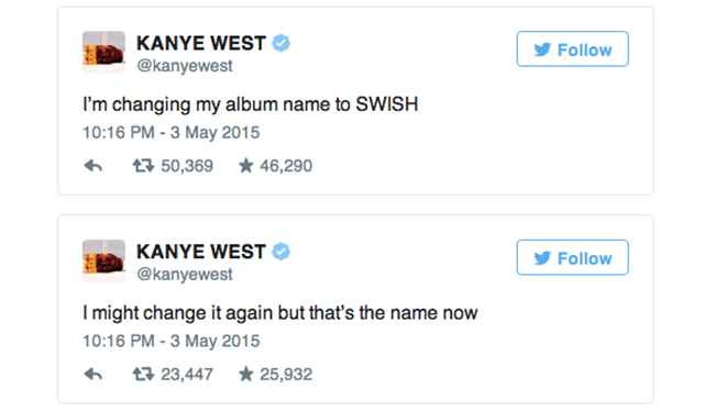 Kanye West Changes His Album Name to SWISH