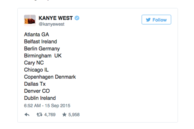 Kanye West Unveils a List of Cities