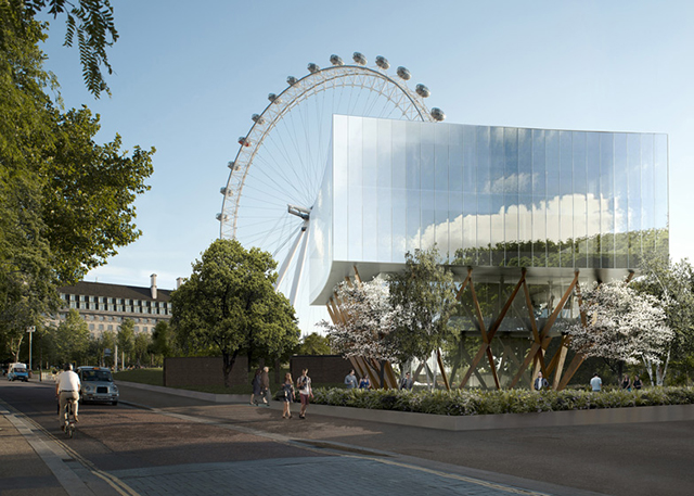 Exhibition Shell Yard : Marks barfield architects unveils plans for glass pavilion