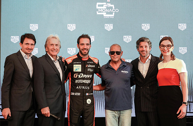 TAG Heuer Creative Director Guy Bove, racing legend Derek Bell, current Formula E champ Jean-Eric Vergne, TAG Heuer ambassadors Chad McQueen and Patrick Dempsey, and Heritage Director Catherine Eberle-Devaux