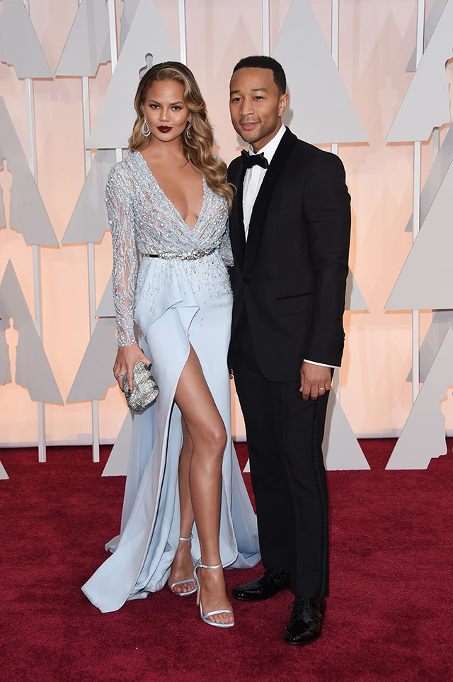 Chrissy Teigen (L) and recording artist John Legend