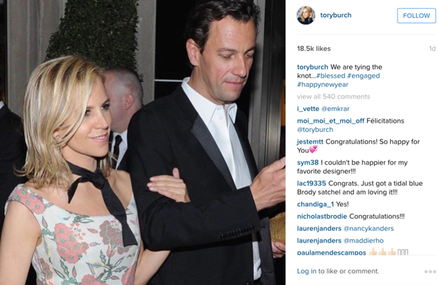 Tory Burch engaged
