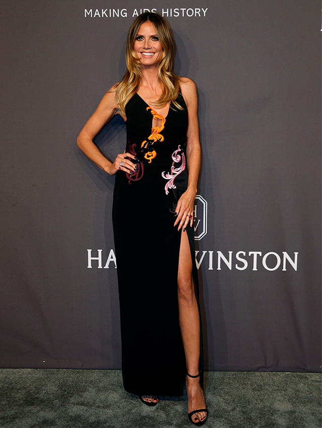 Heidi Klum dressed in Versace
