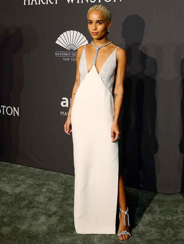 Zoe Kravitz dressed in Versace