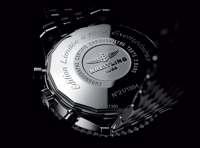 The back of the Breitling Navitimer 1884