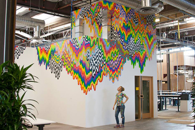 The new frank gehry designed facebook hq receives an for Corporate mural