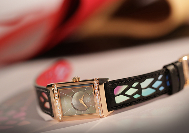 Jaeger-LeCoultre special edition Reverso piece by Christian Louboutin with iridescent dial and