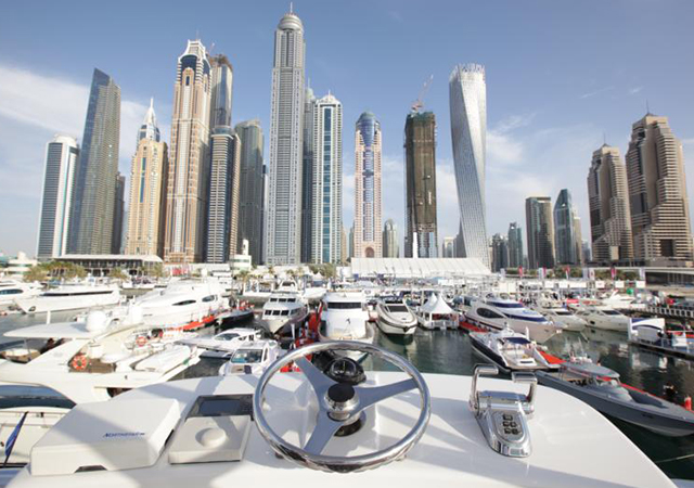 Luxury boats and yachts on display at the Dubai International Boat Show