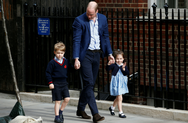 Prince George and Princess Charlotte arriving to meet their new brother