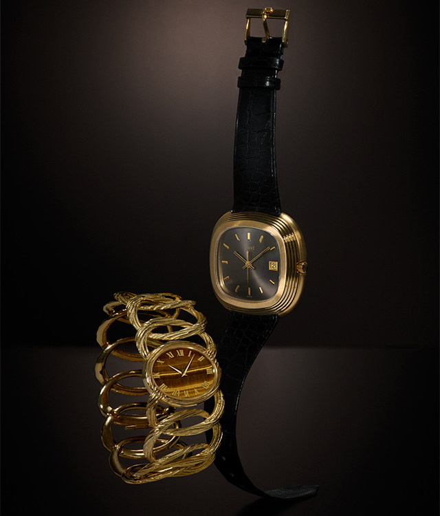 A black-strapped timepiece owned by Andy Warhol