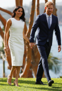 Day one: Meghan wears Karen Gee dress