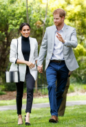 Day six: Meghan wears L'Agence blazer, Outland Denim jeans, Oroton bag and Aquazzura heels