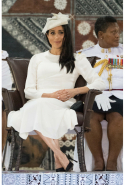 Day eight: Meghan wears Zimmermann dress, Tabitha Simmons heels and Stephen Jones Millinery hat