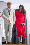 Day 10: Meghan wears Self-Portrait dress and Manolo Blahnik heels