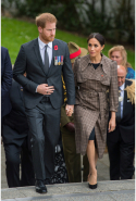 Day 13: Meghan wears ASOS dress and Karen Walker 'Banks' trench coat
