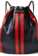 Balenciaga Arena Lock Striped Creased-Leather Backpack, Dhs3,470