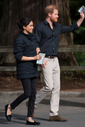 Day 16: Meghan wears Mother jeans, Prince Harry's Norrøna Oslo jacket and Birdies slippers