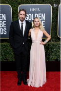 Dax Shephard and Kristen Bell in Zuhair Murad