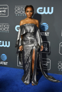 Janet Mock dressed in Roland Mouret