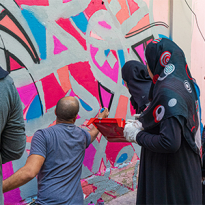81 Designs and eL Seed have teamed up to create a mural for a refugee camp in Lebanon
