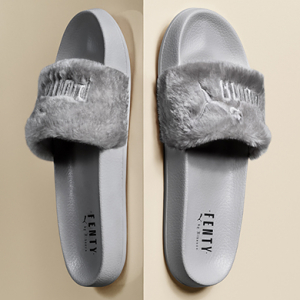 Introducing Rihanna's Fur Slide by Fenty in grey